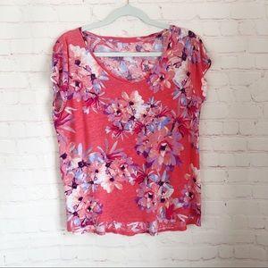 [Dress Barn] floral sweetheart v-neck tee large